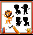 find the correct shadow cartoon funny lion posing vector image vector image