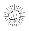 fist blow with sun rays in flat design fist blow vector image