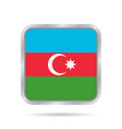flag of azerbaijan metallic gray square button vector image vector image