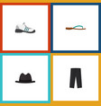 flat icon garment set of sneakers pants panama vector image vector image
