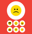 flat icon gesture set of cross-eyed face smile vector image vector image