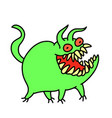 funny cute green monster smiles and runs vector image vector image