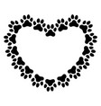 heart shaped frame made paw prints vector image vector image