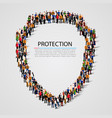 large group of people in the shield shape vector image vector image