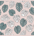 monstera leaves seamless background vector image vector image