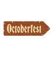 Oktoberfest road wooden sign icon vector image vector image