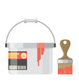 paint can with brush vector image vector image