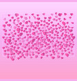 paper cut hearts strewn with a set on a pink vector image vector image