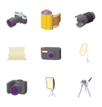 Photography icons set cartoon style vector image
