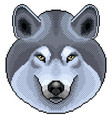 pixel grey wolf portrait detailed isolated vector image vector image