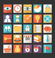 set business icons in flat design style vector image