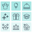 set of 9 celebration icons includes festive vector image