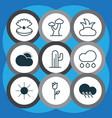 set of 9 world icons includes bush sunshine oak vector image vector image