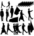 Silhouette military people collection vector image vector image