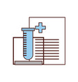tube test with medical order document icon vector image vector image