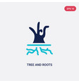 two color tree and roots icon from ecology vector image vector image