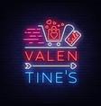 valentine day sale neon sign vector image