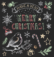 Vintage Christmas Chalkboard Hand Drawn Set