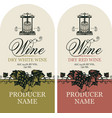 wine labels with grape bunches and wine press vector image vector image