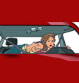 woman driver couple in car husband and wife vector image vector image