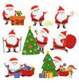 cute santa claus set vector image