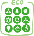 Collection of nine green eco-icons vector image