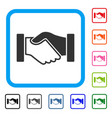 acquisition handshake framed icon vector image vector image