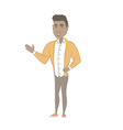 african man with arm out in a welcoming gesture vector image vector image