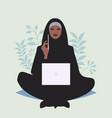 arabian business woman sitting comfortably vector image