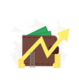 big wallet with key and yellow arrow success vector image vector image