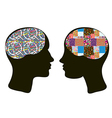 Brains and thinking concept of man and woman vector image vector image