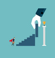 businessman with big support hand put stairs to vector image vector image