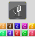 Cactus icon sign Set with eleven colored buttons vector image vector image