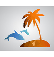 Card in polygonal style Beach palm tree island dol vector image