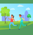 children running in park set cartoon icon vector image vector image