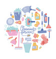 cleaning tools round composition set cleaning vector image vector image