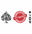 collage spades suit icon with grunge pittsburgh vector image vector image