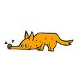 comic cartoon fox sniffing floor vector image vector image