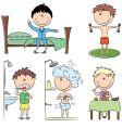 Daily morning boy's life vector image