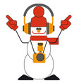 dancing snowman with headphones and a camera vector image vector image