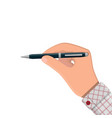 detailed classic ballpoint pen in hand vector image vector image