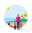father with son and daughter shore sand landscape vector image