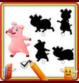 find the correct shadow cartoon happy pig waving vector image