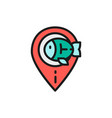 fishing spot fish location flat color line icon vector image