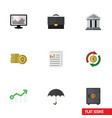 flat icon finance set of parasol bank strongbox vector image vector image