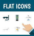 flat icon summer set of deck chair aircraft vector image vector image