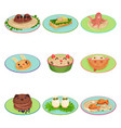 food for child designed in the shape of animals vector image