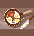 fry delicious scrambled eggs and sausage vector image