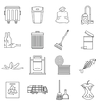 Garbage thing icons set outline style vector image vector image
