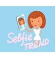 Girl is taking selfie vector image vector image